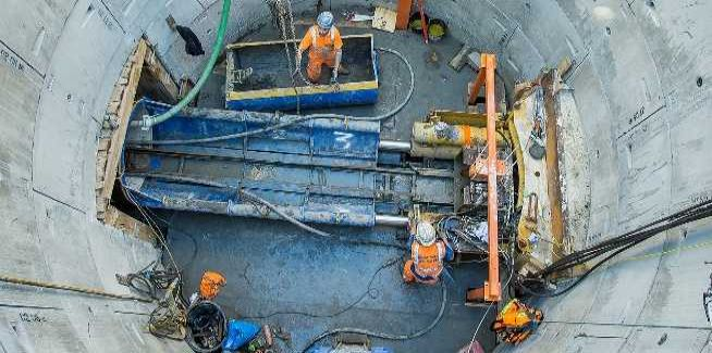 A man-driven tunnel boring machine was used for the project