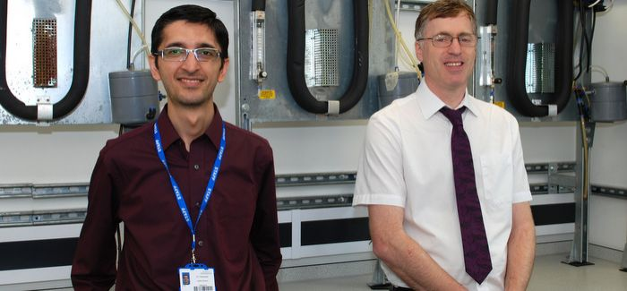 Huddersfield researchers Dr Taher Rabizadeh and Dr Jeremy Hopwood with testing equipment supplied by Yorkshire Water
