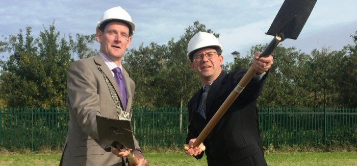 Colm Markey (Louth County Council) and Paul Fallon (Irish Water) at the sod turning