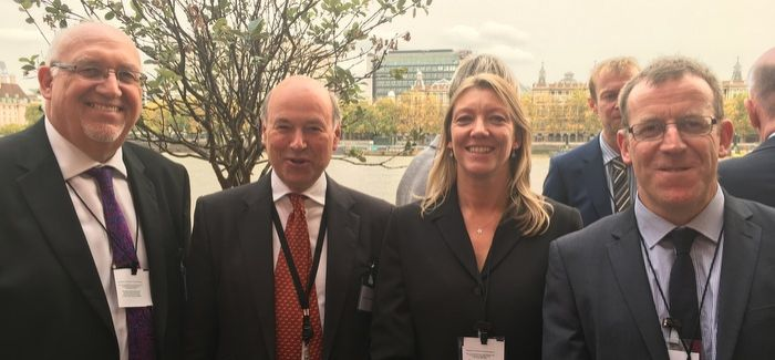 L-R: South West Water managing director Dr Stephen Bird; biosecurity minister Lord Gardiner; Kate Hills, South West Water INNS ecologist; and Dr Niall Moore, GB Non Native Species secretariat