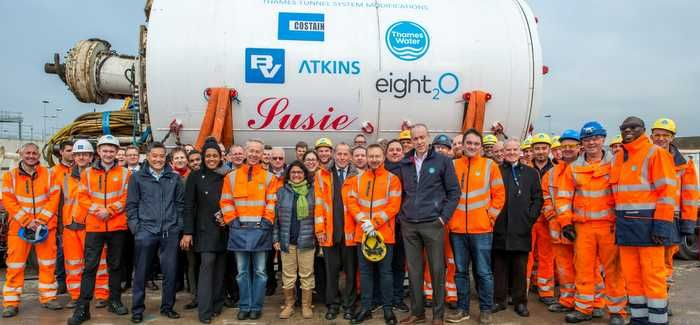 The naming ceremony for the TBM at Beckton Sewage Treatment Works