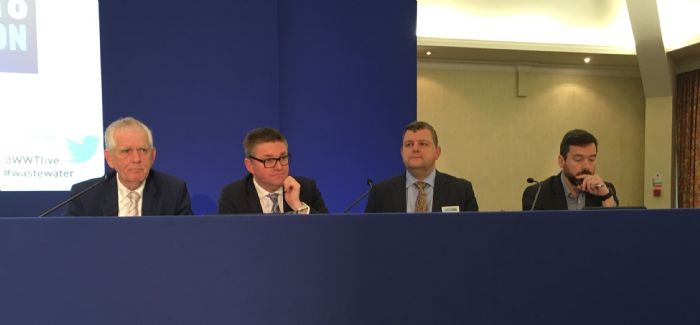 (l-r) Future Water Association Operations Director Martyn Hopkinson, Ofwat's David Black, Welsh Water's Steve Wilson and Thames Water's Lawrence Gosden