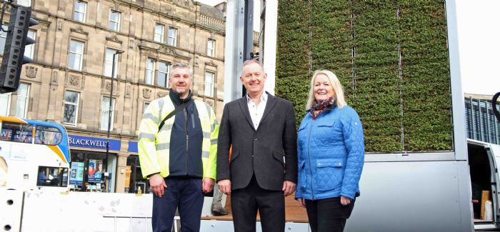 Mark Cuthbert, Nigel Watson and Arlene Ainsley in front of the moss tree in Newcastle.