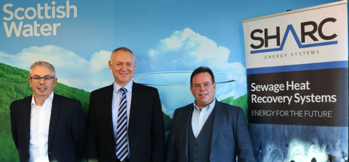 From left to right: Scottish Water Horizons' Paul Kerr, Scottish Water's Alan P Scott and SHARC Energy Systems' Russ Burton