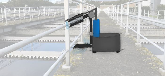 An illustration of a robot operating at a wastewater treatment plant
