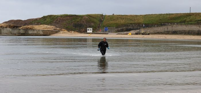 The Environment Agency's Mick Donkin collecting samples at Cullercoats