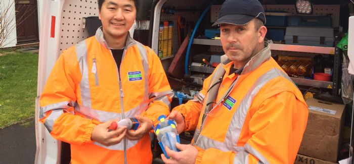 Dr You Wu and Severn Trent DST John Poulton pictured with the leak-finding robot