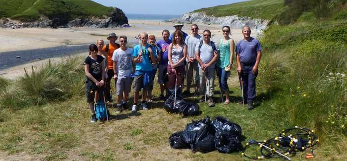 South West Water beach clean volunteers at Polzeath, Cornwall