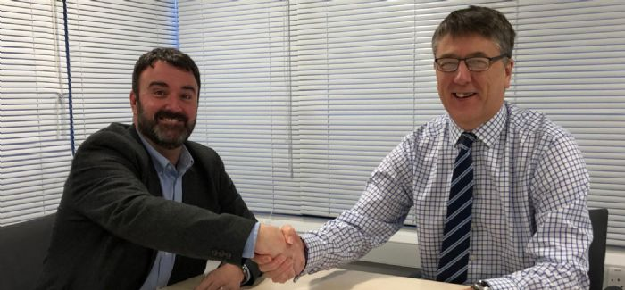 Lanes Group's Andy Botfield, left, and BAM Nuttall's James Lees sign the new framework partnership agreement