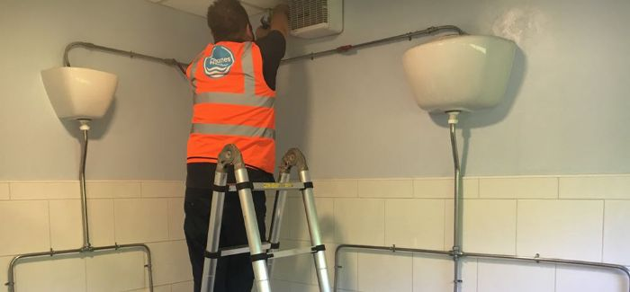 A repair to leaking urinals in progress at a business in the Thames Water area