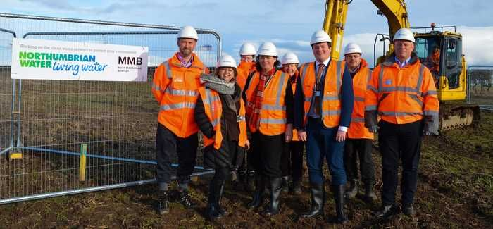 Northumbrian Water and MMB employees on site with Northumberland County Councillors