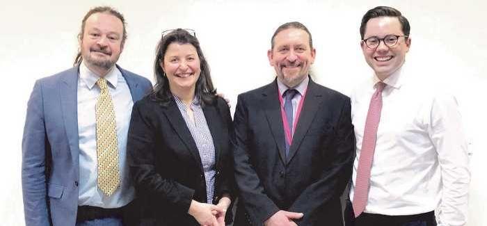 L-R: Dr Adrian Williams, Valerie Kendall, Dr Stuart Clough, James McLeay