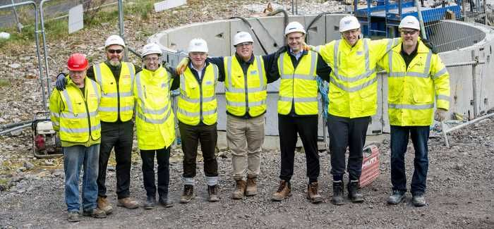 The tunnelling team celebrate the breakthrough in Paisley (Pic credit: SNS)
