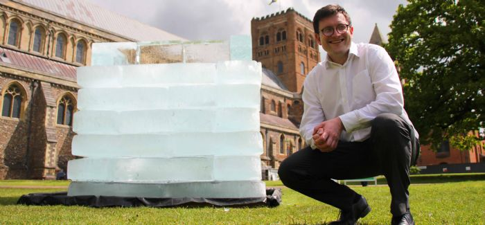 Affinity Water director of communications Jake Rigg with 'The Cold Hard Truth' at St Albans Cathedral