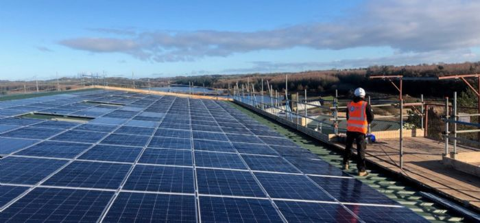 250kWp roof mounted PV array at  Cefni WWTW, designed and installed by HBS New Energies