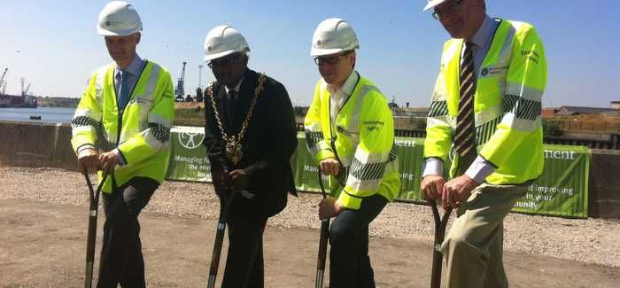 L-R: Dr Charles Beardall; the Mayor of Ipswich, Councillor Hamil Clarke; Ben Gummer, MP for Ipswich; and Mark Pendlington at the groundbreaking ceremony