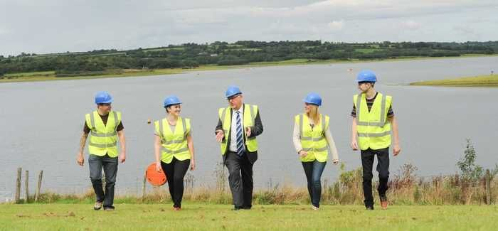 Dr Bird, centre, with some of South West Water's new apprentices