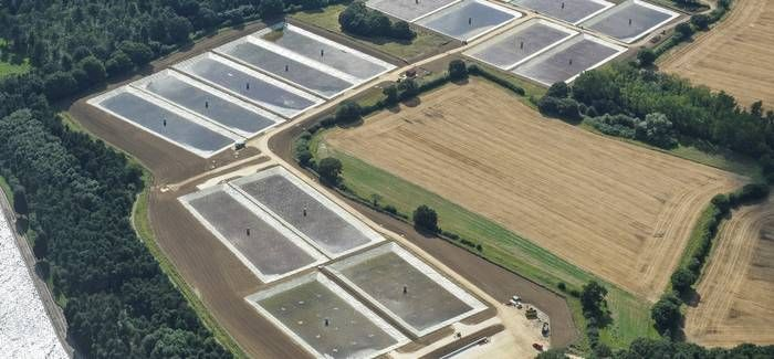 Aerial view of award-winning reed beds at Hanningfield water treatment plant in Essex