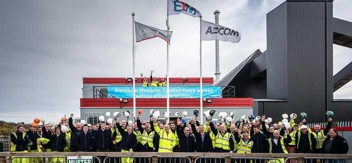 ETM staff celebrate reaching the health & safety milestone