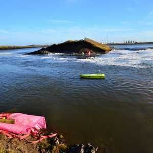 Remote-control boat aids flood repair