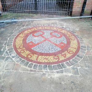 Commemorative Oxford mosaic preserved during water leak repairs