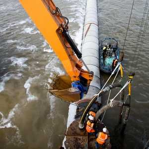 Outfall pipe laid in River Mersey